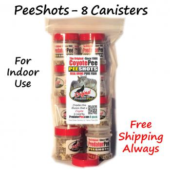 Coyote Urine PeeShots - For Indoors and Vehicles - 8 pack